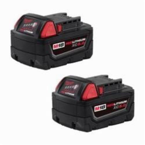 Milwaukee® 48-11-1852 M18™ REDLITHIUM™ Rechargeable Cordless Battery Pack, 5 Ah Lithium-Ion Battery, 18 VDC, For Use With Milwaukee® M18™ Cordless Power Tool
