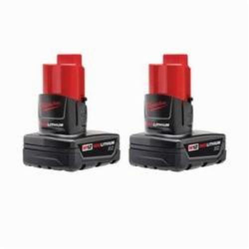 Milwaukee® 48-11-2412 M12™ REDLITHIUM™ Rechargeable Cordless Battery Pack, 3 Ah Lithium-Ion Battery, 12 VDC, For Use With Milwaukee® M12™ Cordless Power Tool