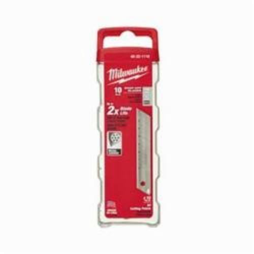 Milwaukee® 48-22-1118 10-Piece General Purpose Utility Knife Blade With Dispenser, Snap-Off, 5-3/4 in L x 18 mm W Blade, Compatible With Milwaukee® Most Standard Utility Knives, 0.02 in THK, Micro Carbide Metal
