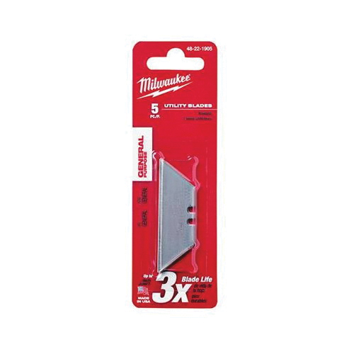 Milwaukee® 48-22-1905 5-Piece General Purpose Utility Blade, Sharp Point/Straight Edge, 2-3/8 in L x 3/4 in W Blade, Compatible With Milwaukee® Most Standard Utility Knives, 0.025 in THK, Micro Carbide Metal