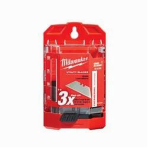 Milwaukee® 48-22-1950 50-Piece General Purpose Utility Blade With Dispenser, Sharp Point/Straight Edge, 2-3/8 in L x 3/4 in W Blade, Compatible With Milwaukee® Most Standard Utility Knives, 0.025 in THK, Micro Carbide Metal