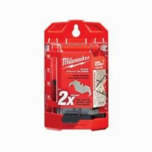 Milwaukee® 48-22-1952 50-Piece Double End Utility Knife Blade With Dispenser, Hook, Sharp Point, 1-7/8 in L x 3/4 in W Blade, Compatible With Milwaukee® Most Standard Utility Knives, 0.025 in THK, Micro Carbide Metal