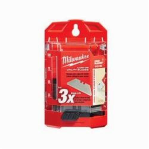 Milwaukee® 48-22-1954 50-Piece Utility Knife Blade With Dispenser, Round Point/Straight Edge, 2-3/8 in L x 3/4 in W Blade, Compatible With Milwaukee® Most Standard Utility Knives, 0.025 in THK, Micro Carbide Metal