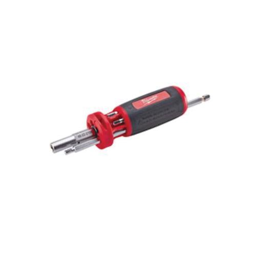 Milwaukee® 48-22-2104 10-in-1 Multi-Bit Screwdriver, Imperial, 8 Pieces, Ergonomic/Anti-Roll Handle, Steel
