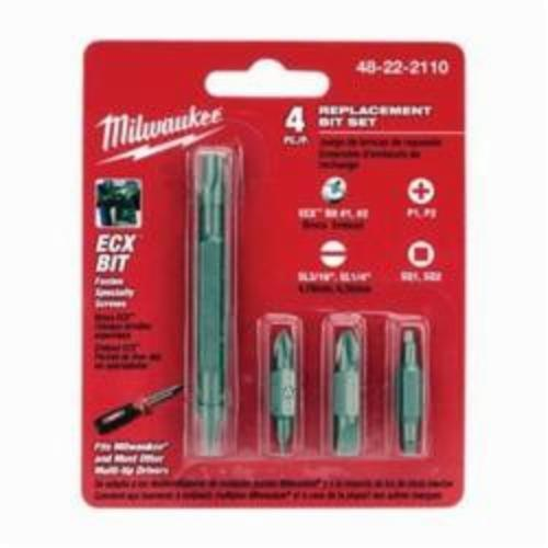 Milwaukee® 48-22-2110 11-in-1 Replacement Bit Set, Imperial, Phillips®/Slotted/Square Point, 4 Pieces, Steel