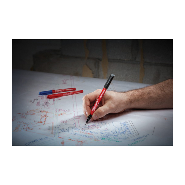 Milwaukee® 48-22-3165 INKZALL™ Point Pen, 0.5 mm Ultra Fine Tip, Plastic, Black/Blue/Red