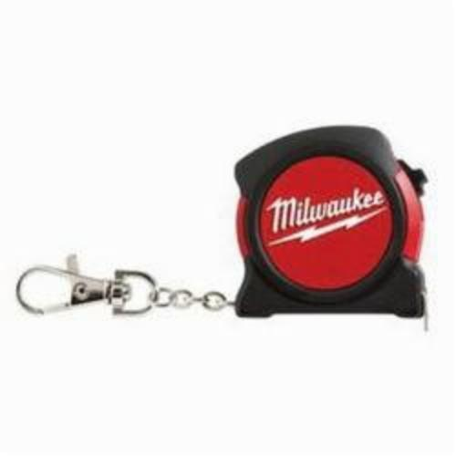 Milwaukee® 48-22-5506C Measuring Tape With Belt Clip and Key Chain, 6 ft/2 m L x 13 mm W Blade, Steel, Imperial/Metric, 1/16 in Top, 1 mm Bottom
