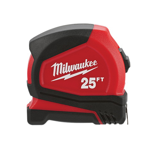 Milwaukee® 48-22-6625 Compact Measuring Tape With Belt Clip, 25 ft L x 25 mm W Blade, Steel Blade, Imperial Measuring System, 1/16 in, 1/8 in, 1/4 in, 1/2 in Graduation