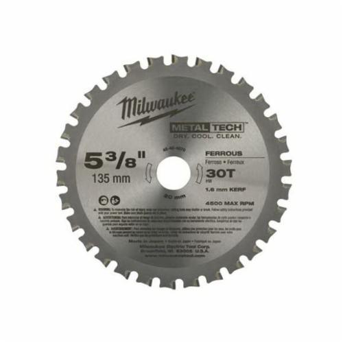 Milwaukee® 48-40-4070 Thin Kerf Circular Saw Blade, 5-3/8 in Dia x 0.05 in THK, 20 mm Arbor, Alloy Steel Blade, 30 Teeth