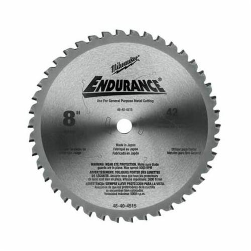 Milwaukee® 48-40-4515 Circular Saw Blade, 8 in Dia x 0.073 in THK, 5/8 in Arbor, Hardened Steel Blade, 42 Teeth