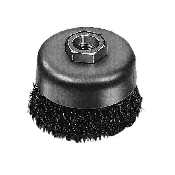 Milwaukee® 48-52-5065 Cup Brush, 3-1/2 in Dia Brush, 5/8-11 Arbor Hole, 0.014 in Dia Filament/Wire, Crimped, Carbon Steel Fill