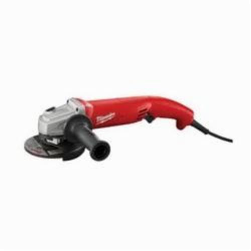 Milwaukee® 6121-31A Double Insulated Small Angle Grinder, 5 in Dia Wheel, 5/8-11 UNC Arbor/Shank, 120 VAC, Black/Red/Silver, Lock-ON Trigger Switch, Tool Only