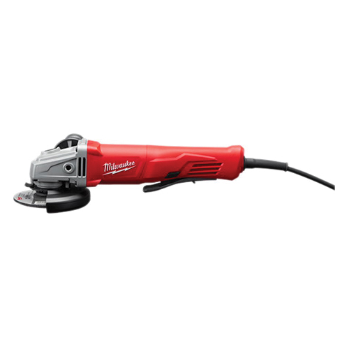 Milwaukee® 6142-31 Corded No-Lock Small Angle Grinder, 4-1/2 in Dia Wheel, 5/8-11 UNC Arbor/Shank, 120 VAC, Black/Gray/Red, Paddle Switch, Tool Only