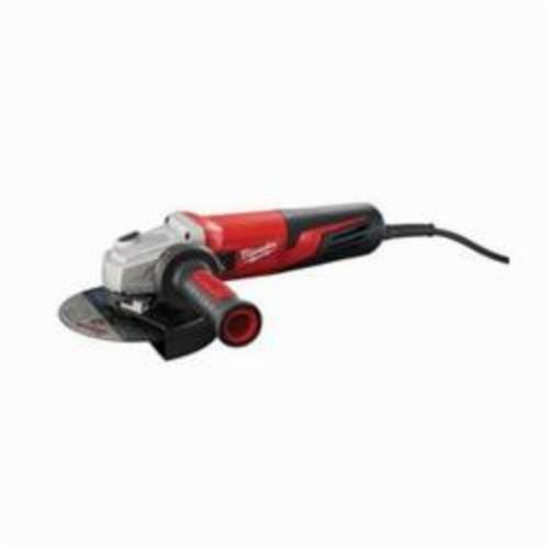 Milwaukee® 6161-33 Double Insulated Small Angle Grinder, 6 in Dia Wheel, 5/8-11 UNC Arbor/Shank, 120 VAC, Red, Lock-ON Slide Switch, Tool Only