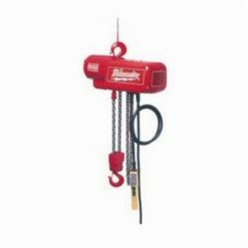 Milwaukee® 9562 1-Phase Lightweight Electric Chain Hoist, 1/2 ton Load, 20 ft Lifting Height, 0.5 hp, 115 to 230 VAC