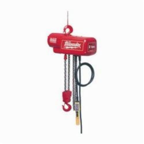Milwaukee® 9573 1-Phase Lightweight Electric Chain Hoist, 2 ton Load, 20 ft Lifting Height, 1 hp, 115 to 230 VAC