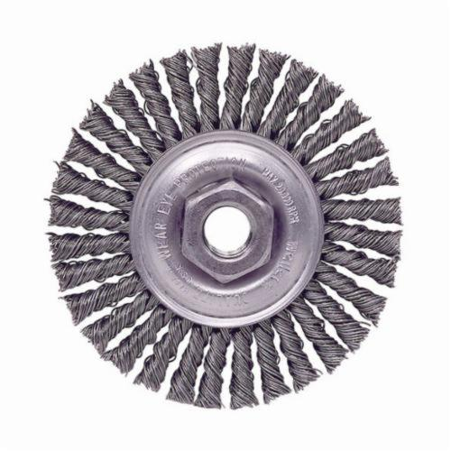 Mini Roughneck® 13128 Narrow Face Wheel Brush With Nut, 4 in Dia Brush, 3/16 in W Face, 0.02 in Dia Stringer Bead Knot Filament/Wire, 3/8-24 Arbor Hole