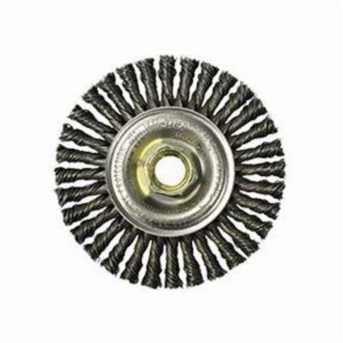 Mini Roughneck® 13131 Narrow Face Wheel Brush With Nut, 4 in Dia Brush, 3/16 in W Face, 0.02 in Dia Stringer Bead Knot Filament/Wire, 5/8-11 Arbor Hole