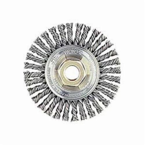 Mini Roughneck® 13138 Narrow Face Wheel Brush With Nut, 4 in Dia Brush, 3/16 in W Face, 0.02 in Dia Stringer Bead Knot Filament/Wire, 5/8-11 Arbor Hole
