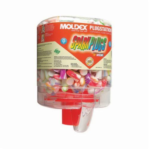 Moldex® 6644 SparkPlugs® PlugStation® Earplugs, 33 dB Noise Reduction, Tapered Shape, ANSI S3.19-1974, Disposable, Uncorded Design