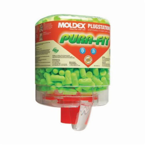 Moldex® 6844 Pura-Fit® PlugStation® Earplugs, 33 dB Noise Reduction, Tapered Shape, ANSI S3.19-1974, Disposable, Uncorded Design