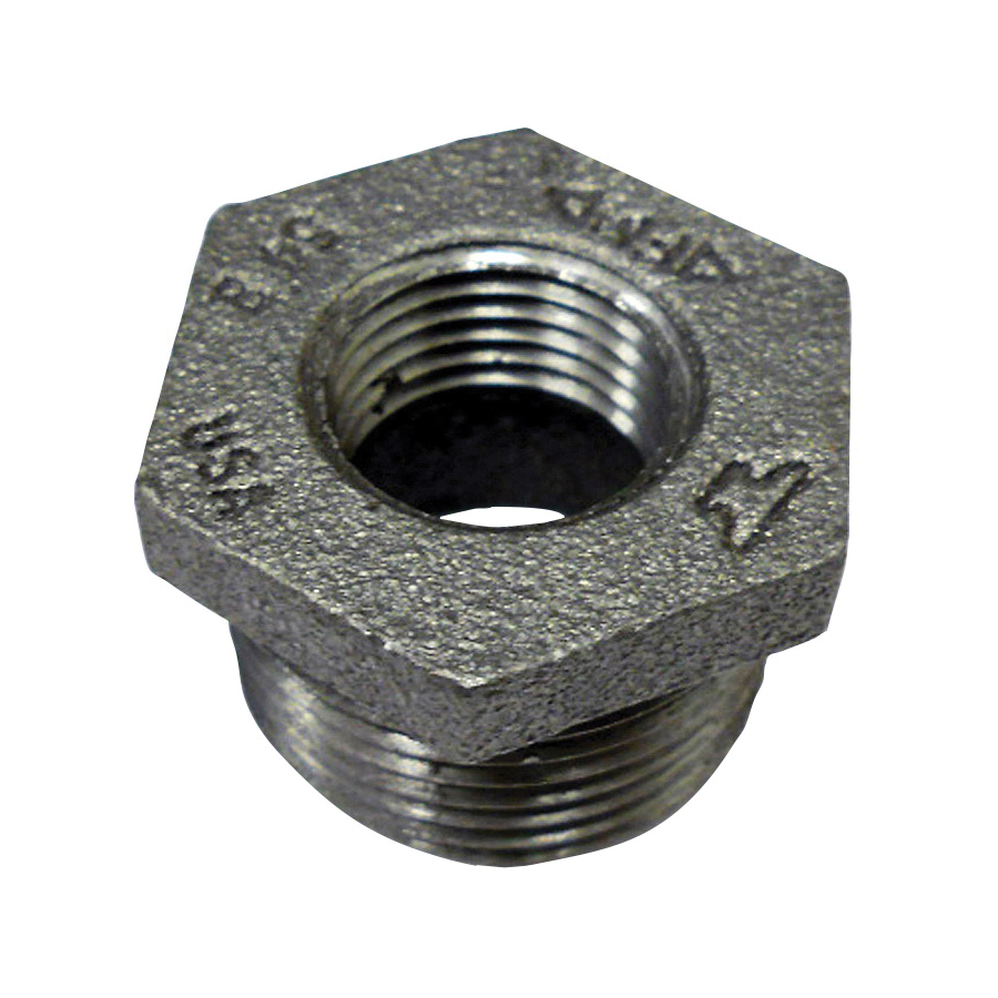Anvil® 0318907888 FIG 383 Hex Head Pipe Bushing, 2 x 3/8 in Nominal, MNPT x FNPT End Style, 150/300 lb, Cast Iron, Black Oxide, Domestic