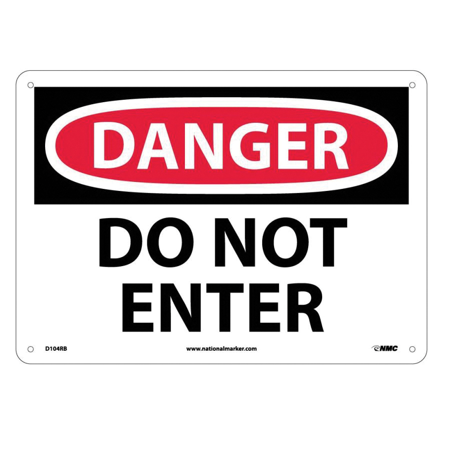 NMC™ D104RB Admittance Security Rectangle Danger Safety Sign, 10 in H x 14 in W, Black/Red/White, Rigid Plastic, Wall Mounting