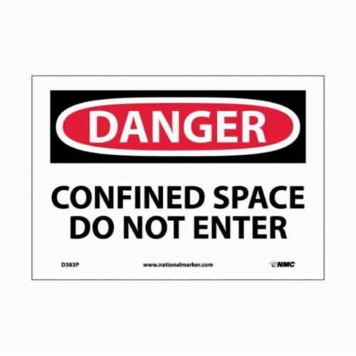 NMC™ D383RB Rectangle Danger Sign, DANGER, 10 in H x 14 in W, Black/Red on White, Rigid Plastic, Wall Mount