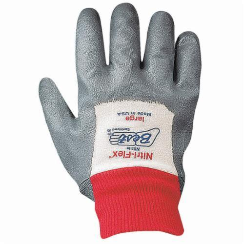 Nitri-Flex® 4000P General Purpose Gloves, Coated, Nitrile Palm, Cotton, Gray/White, Knit Wrist Cuff, Nitrile Coating, Resists: Abrasion, Cut, Puncture and Tear, Cotton Interlock Lining, Wing Thumb