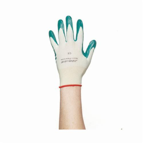 Nitri-Flex® Lite 4500 Breathable General Purpose Gloves, Coated, Nitrile Palm, 13 ga Nylon, Green/White, Knit Wrist Cuff, Nitrile Coating, Resists: Abrasion, Cut and Puncture, Seamless Knit Lining, Flat Dipped/Straight Thumb