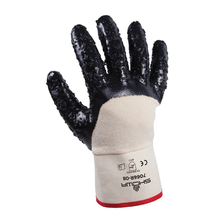 Nitri-Pro® 7066R-10 General Purpose Gloves, Coated, Wing Thumb Style, L/SZ 10, Nitrile Palm, Cotton, Navy/White, Reinforced Safety Cuff, Nitrile Coating, Resists: Abrasion, Cut, Oil, Snag and Puncture, Cotton Jersey Lining
