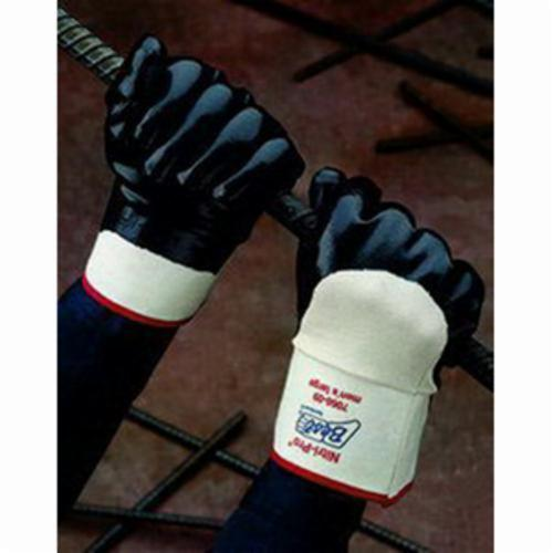 Nitri-Pro® 7199NC-10 Heavy Duty General Purpose Gloves, Coated, SZ 10, Nitrile Palm, Black, Gauntlet Cuff, Nitrile Coating, Resists: Abrasion, Grease, Oil, Puncture and Snag, Jersey Lining