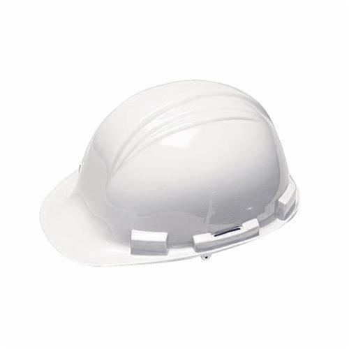 North® by Honeywell A79R010000 Peak Front Brim Hard Hat, SZ 6-1/2 Fits Mini Hat, SZ 8 Fits Max Hat, HDPE, 4-Point Nylon Suspension, ANSI Electrical Class Rating: Class E, ANSI Impact Rating: Type I, Ratchet Adjustment