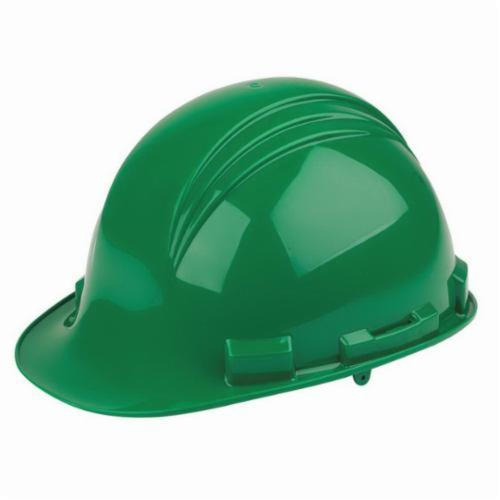 North® by Honeywell A79R040000 Peak Front Brim Hard Hat, SZ 6-1/2 Fits Mini Hat, SZ 8 Fits Max Hat, HDPE, 4-Point Nylon Suspension, ANSI Electrical Class Rating: Class E, ANSI Impact Rating: Type I, Ratchet Adjustment