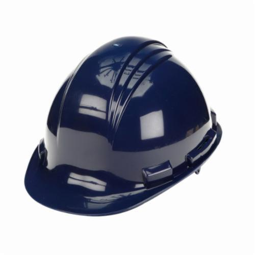 North® by Honeywell A79R080000 Peak Front Brim Hard Hat, SZ 6-1/2 Fits Mini Hat, SZ 8 Fits Max Hat, HDPE, 4-Point Nylon Suspension, ANSI Electrical Class Rating: Class E, ANSI Impact Rating: Type I, Ratchet Adjustment