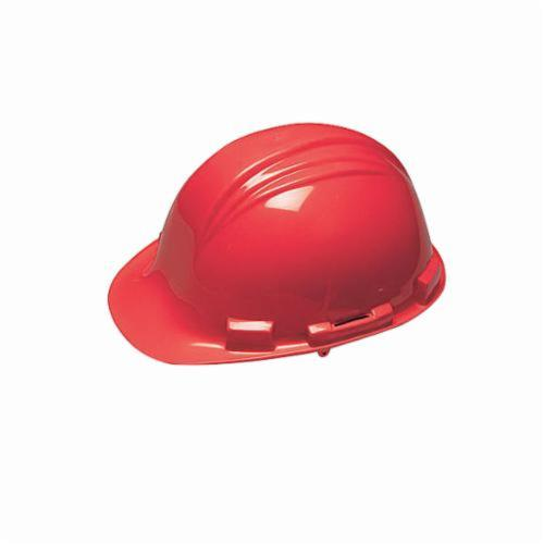 North® by Honeywell A79R150000 Peak Front Brim Hard Hat, SZ 6-1/2 Fits Mini Hat, SZ 8 Fits Max Hat, HDPE, 4-Point Nylon Suspension, ANSI Electrical Class Rating: Class E, ANSI Impact Rating: Type I, Ratchet Adjustment