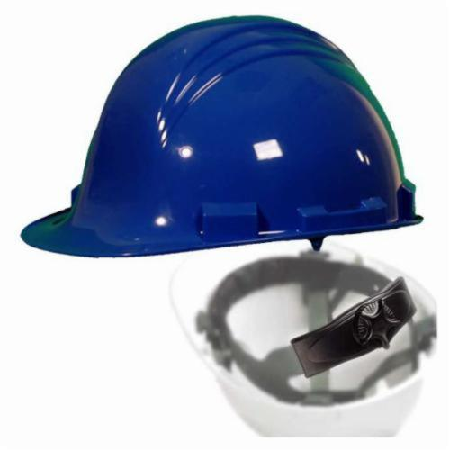 North® by Honeywell A79R170000 Peak Front Brim Hard Hat, SZ 6-1/2 Fits Mini Hat, SZ 8 Fits Max Hat, HDPE, 4-Point Nylon Suspension, ANSI Electrical Class Rating: Class E, ANSI Impact Rating: Type I, Ratchet Adjustment