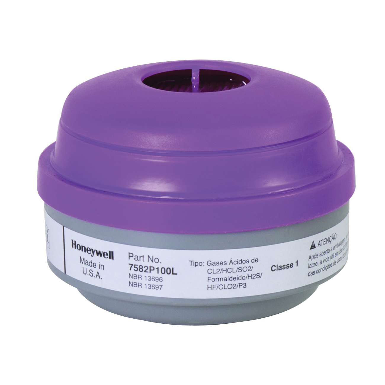 North® by Honeywell 7582P100L N Series Combination Cartridge, For Use With 5400, 5500, 7600 and 7700 Series Respirators, P100 Filter Class, 0.999 Filter Efficiency, Thread Connection
