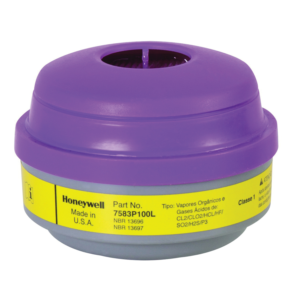 North® by Honeywell 7583P100L N Series Cartridge and Filter, For Use With 5500, RU8500 and 7700 Series Half Mask Respirators, Magenta/Yellow