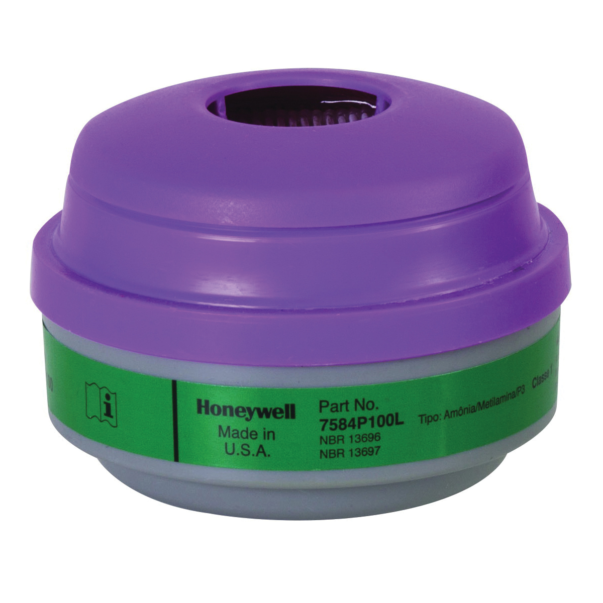 North® by Honeywell 7584P100L Combination Cartridge, For Use With 5400, 5500, 7600 and 7700 Series Respirators, P100 Filter Class, 0.999 Filter Efficiency, Thread Connection, Resists: Aerosols By Removing Dusts, Fumes, Fibers, Mists and other Particles