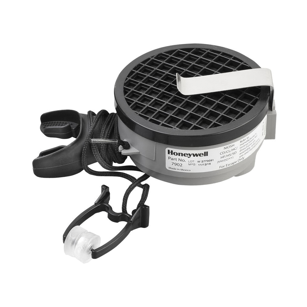 North® by Honeywell 7902 7900 Disposable Escape Mouthbit Respirator With Belt Clip, Universal, Silicone, For Gas Type Acid Gas, Chlorine, Chloride Dioxide, Hydrogen Sulfide and Sulfur Dioxide, Specifications Met: NIOSH Approved