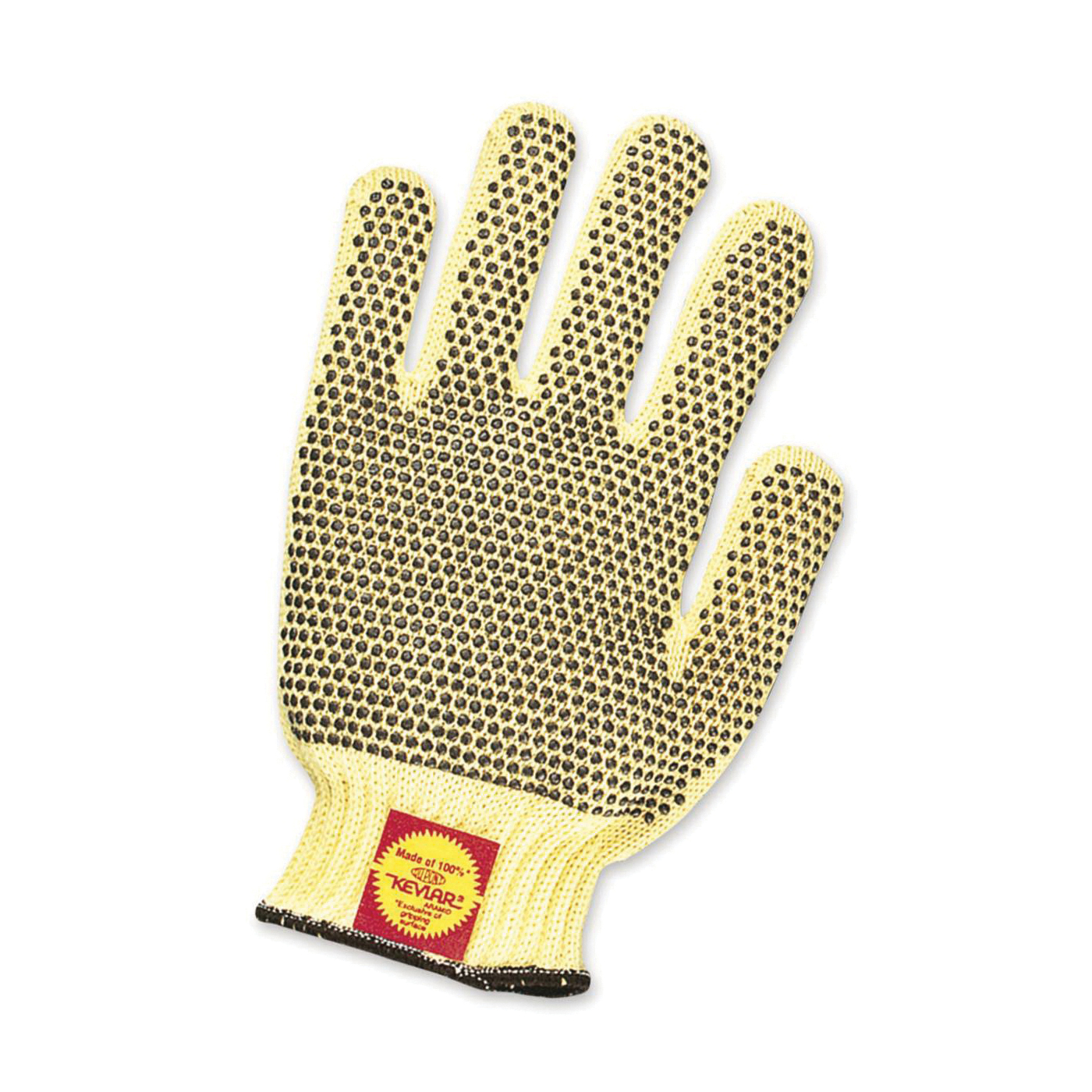 North® by Honeywell KVD18AR-100 Tuff-Knit Extra KVD18AR Men's General Purpose Gloves, L, PVC Dotted Palm, Aramid Fiber/Kevlar®, Brown/Yellow, Knit Wrist Cuff, PVC Dots Coating, Resists: Abrasion, Cut, Puncture and Tear, Unlined Lining