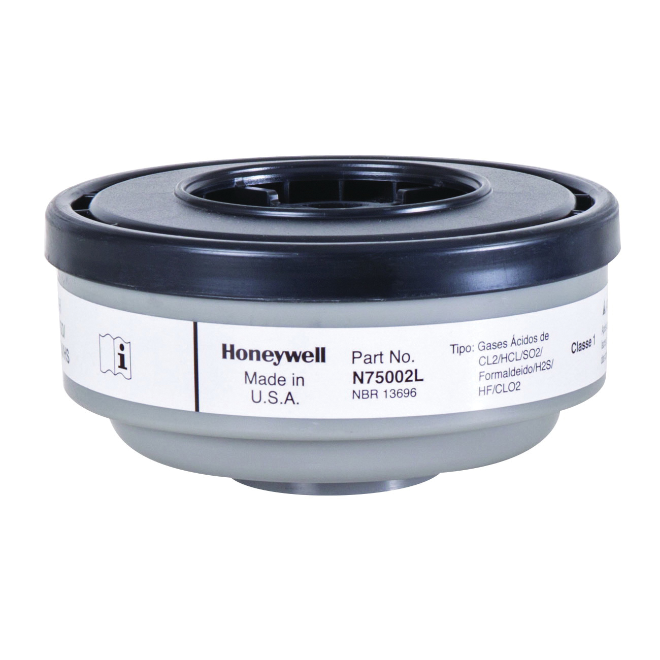 North® by Honeywell N75002L N Series APR Cartridge, For Use With 5400, 5500, 7600 and 7700 Series Respirators, Thread Connection, Resists: Chlorine, Chlorine Dioxide, Formaldehyde, Hydrogen Chloride, Hydrogen Fluoride and Sulfur Dioxide