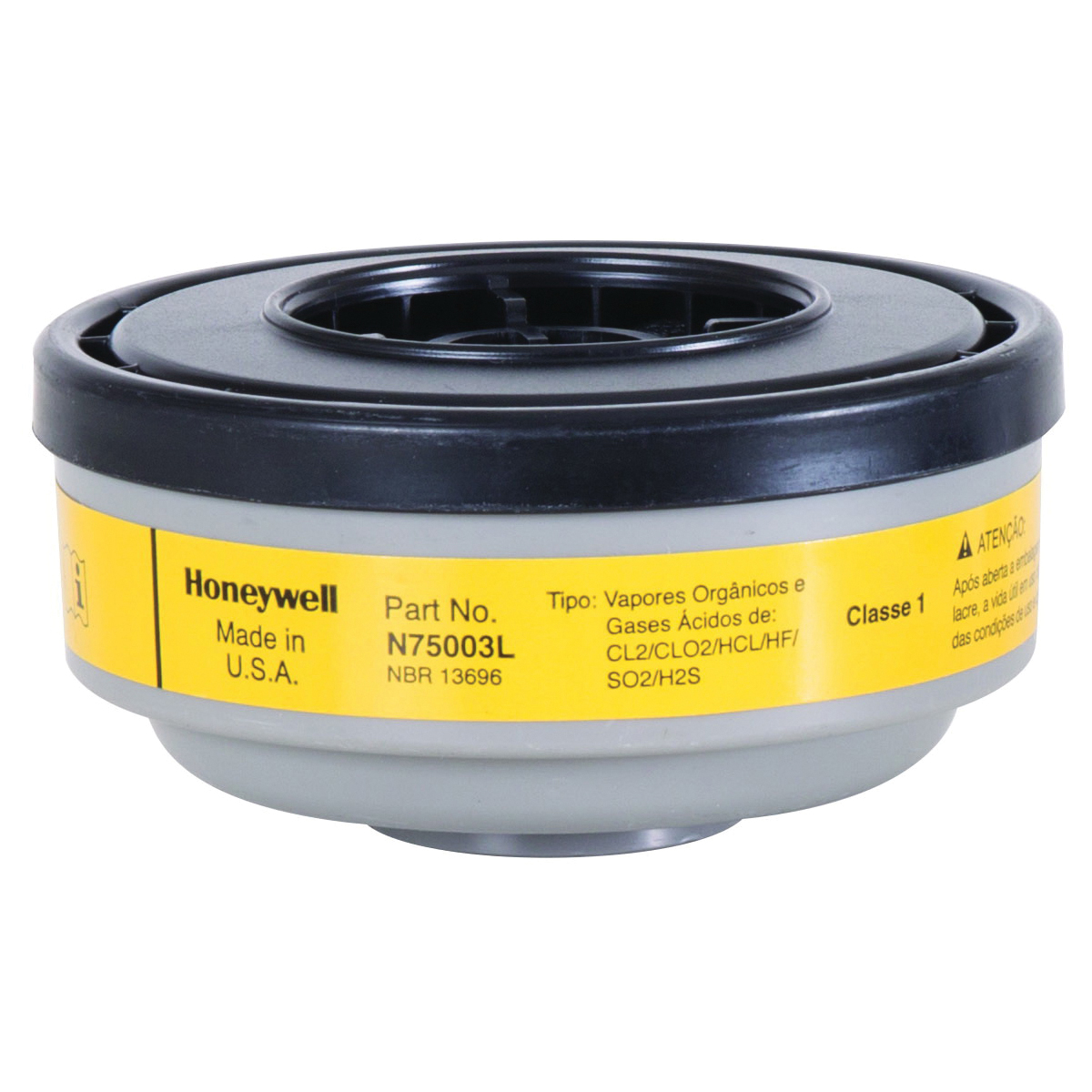 North® by Honeywell N75003L N Series APR Cartridge, For Use With 5400, 5500, 7600 and 7700 Series Respirators, Thread Connection, Resists: Chlorine, Chloride Dioxide, Hydrogen Chloride, Hydrogen Fluoride and Sulfur Dioxide
