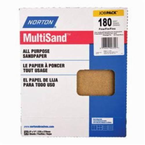 Norton® Adalox® 07660700355 A212 Coated Sanding Sheet, 11 in L x 9 in W, P180 Grit, Fine Grade, Aluminum Oxide Abrasive, Paper Backing