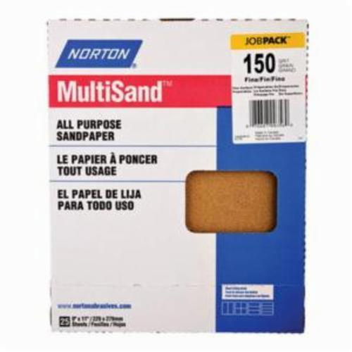 Norton® MultiSand™ 07660700356 A213 Coated Sanding Sheet, 11 in L x 9 in W, P150 Grit, Fine Grade, Aluminum Oxide Abrasive, Paper Backing