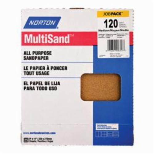 Norton® MultiSand™ 07660700357 A213 Coated Sanding Sheet, 11 in L x 9 in W, P120 Grit, Medium Grade, Aluminum Oxide Abrasive, Paper Backing