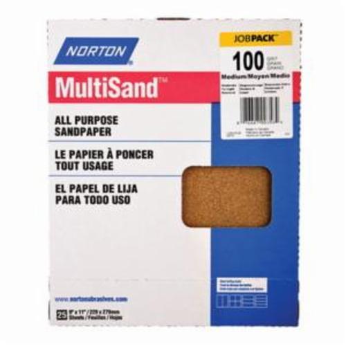 Norton® MultiSand™ 07660700358 A213 Coated Sanding Sheet, 11 in L x 9 in W, P100 Grit, Medium Grade, Aluminum Oxide Abrasive, Paper Backing