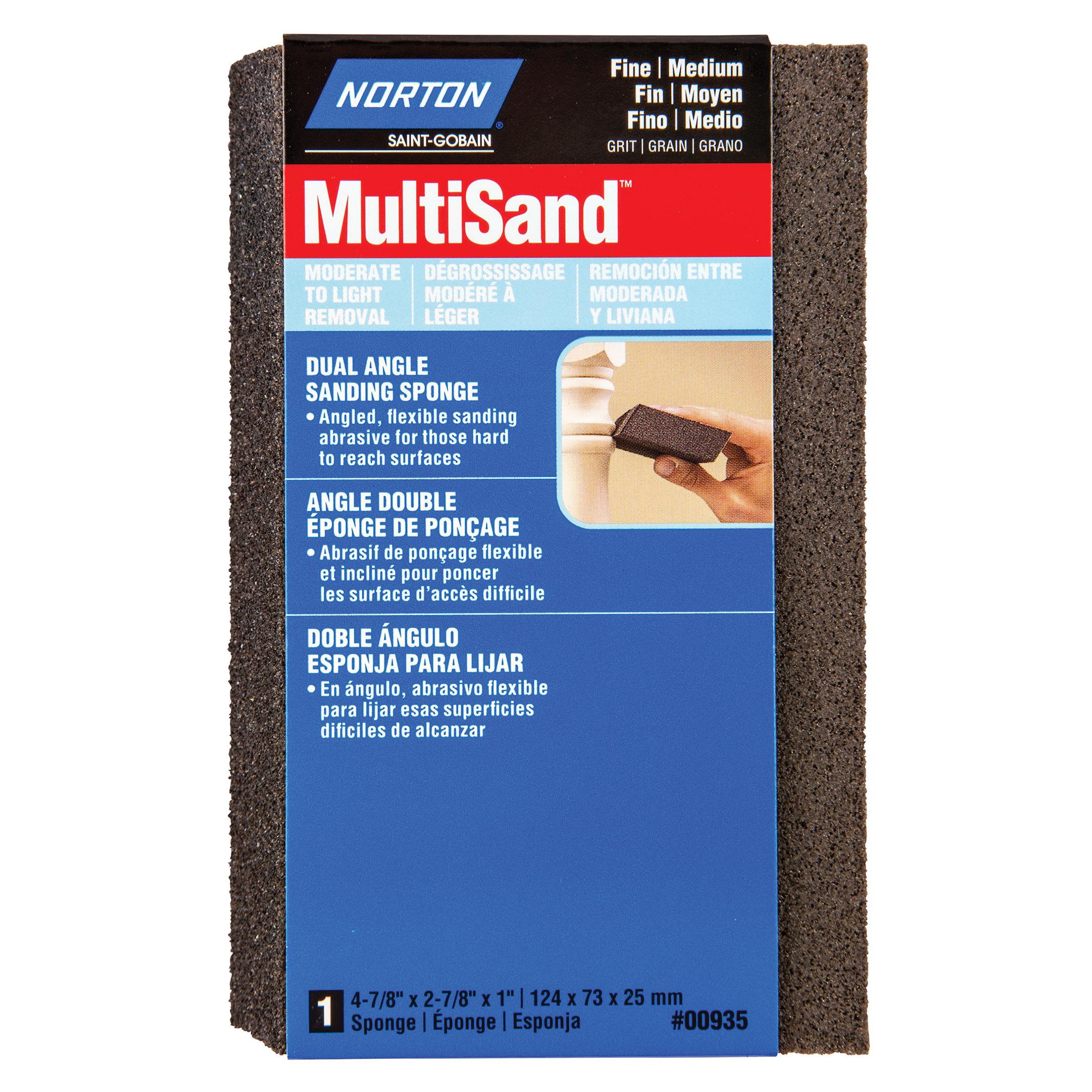 Norton® MultiSand™ 07660700935 Angled Sanding Sponge, 4-7/8 in L x 2-7/8 in W x 1 in THK, 80/120 Grit, Fine/Medium Grade
