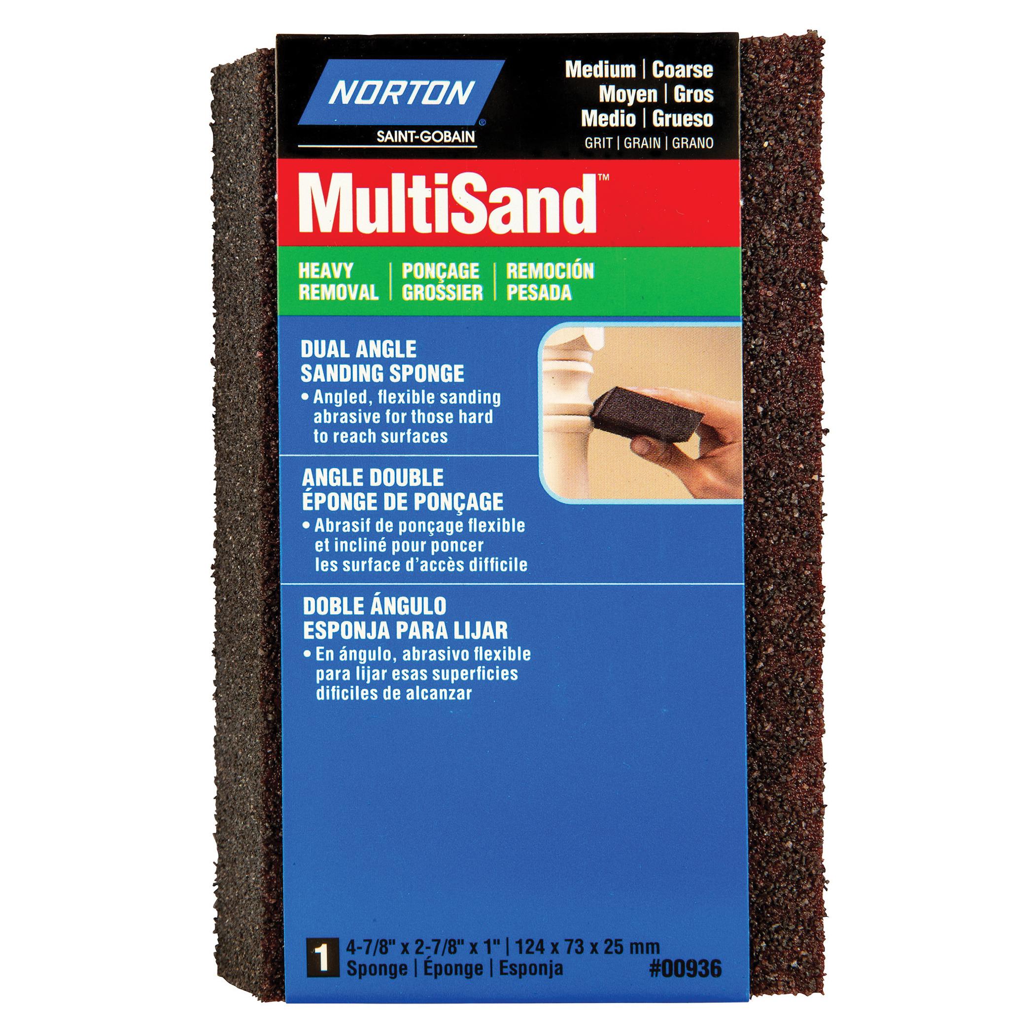 Norton® MultiSand™ 07660700936 Angled Sanding Sponge, 4-7/8 in L x 2-7/8 in W x 1 in THK, 36/80 Grit, Coarse/Medium Grade
